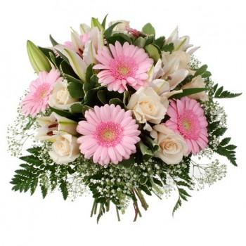Букет № 15 из гербер, лилии и роз