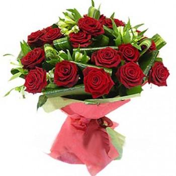 Букет № 30 из красных роз и альстромерии