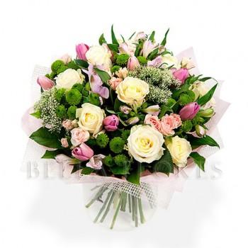 Букет № 50 из роз и тюльпанов