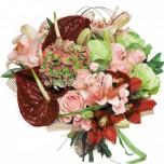 Букет № 59 из лилий, антуриумов, орхидей и гортензии
