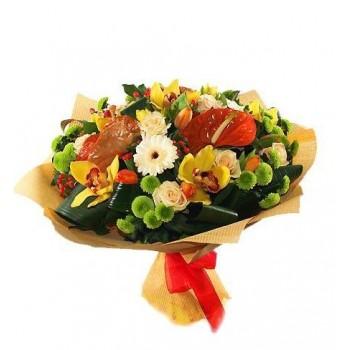 Букет № 45 из антуриумов и орхидей