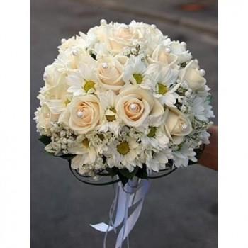 Букет невесты № 27 из розовых роз и баккарди