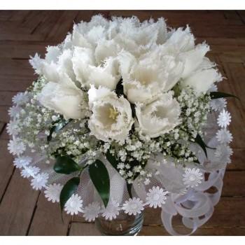 Букет невесты № 21 из белых тюльпанов
