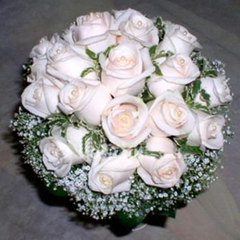 Букет невесты № 22 из белых или розовых ро