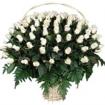 Корзина из белых роз № 2