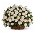 Корзина из белых роз № 3