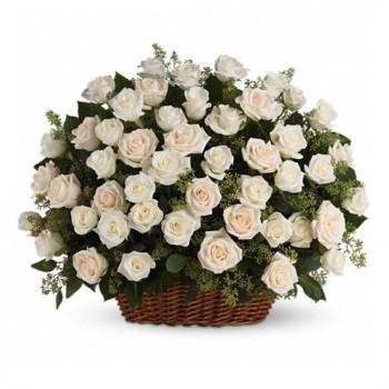 Корзина белых роз № 3