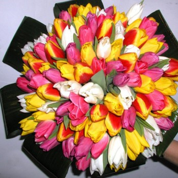 Букет № 19 из разноцветных тюльпанов