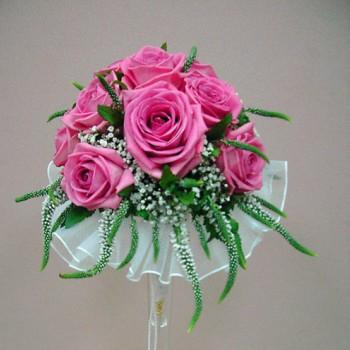 Букет невесты № 21 из розовых роз и вероники